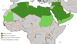Organization of Arab Petroleum Exporting Countries - Map of OAPEC Members and their status in 2010, prior to the breakup of Sudan