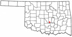 Location of Wanette, Oklahoma