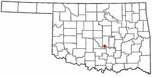 Wanette, Oklahoma - Image: OK Map doton Wanette