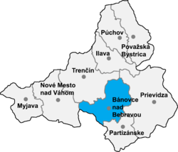 Localisation du district de Bánovce nad Bebravou  dans la région de Trenčín (carte interactive)