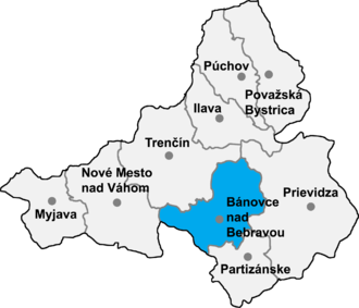 Borčany - Location of Bánovce nad Bebravou District in the Trenčín Region