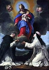 La vierge avec l'enfant remettant un rosaire à saint Dominique en présence de saint Rose de Lima, patronne des Amériques