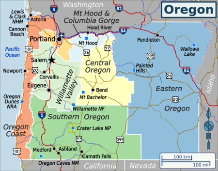 Oregon Travel Guide At Wikivoyage - Map oregon cities