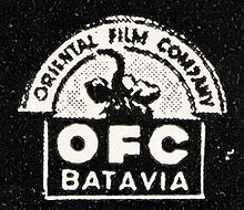 "Black and white text, reading ""Oriental Film Company"". There is a picture of an elephant"