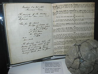 The Football Association - Photo of an early handwritten draft of the 'Laws of the game' for association Football drafted for and behalf of The Football Association by Ebenezer Cobb Morley in 1863 on display at the National Football Museum, Manchester.
