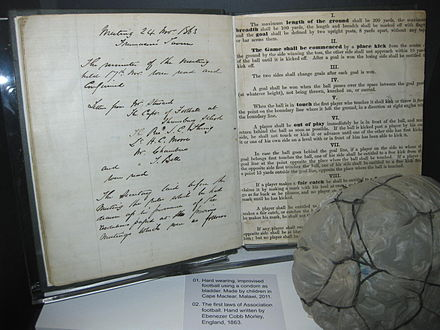 An early draft of the original hand-written 'Laws of the Game' drawn up on behalf of The Football Association by Ebenezer Cobb Morley in 1863 on display at the National Football Museum, Manchester. Original laws of the game 1863.jpg