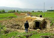 Military architecture of the Spanish civil war. Archaeological studies in Oviedo, Asturias. Republican bunker constructed in 1937 during the siege to the city.