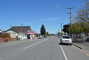 Oxford, New Zealand - The main street (Inland Scenic Route) of Oxford