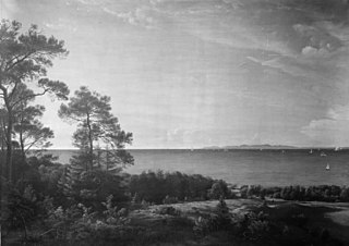 View from the North Coast of Sealand towards Kullen in Sweden. Summer Evening