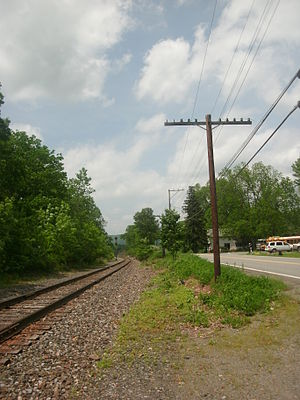 Pennsylvania Route 171 - PA 171 running to the right alongside the former Erie Railroad's Susquehanna Division main line in Hickory Grove