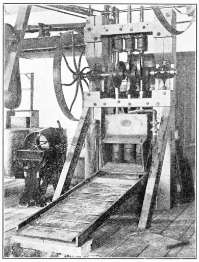PSM V57 D278 Three stamp mill in the mining laboratory.png