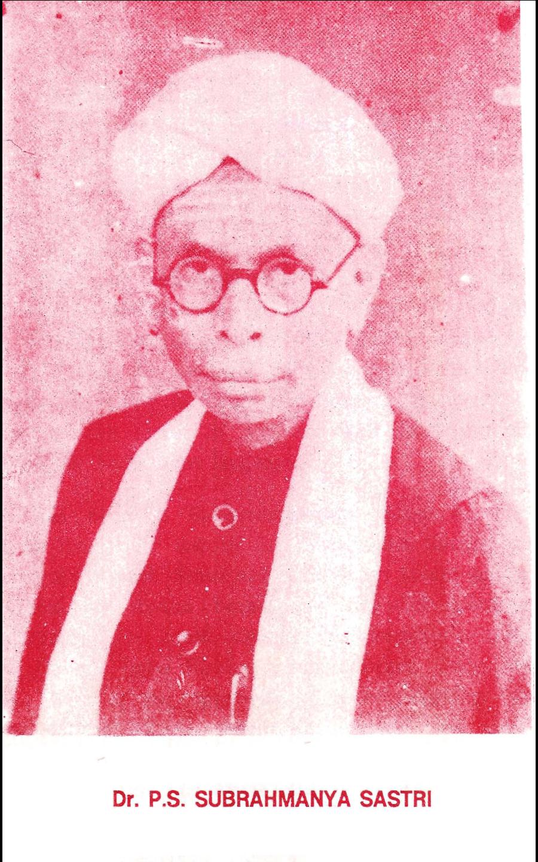 P S Subrahmanya Sastri (1890-1978)