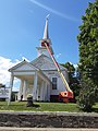 Painting East Burke Congregational Church VT Rte 114 downtown East Burke VT July 2020.jpg