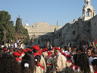 Palestinian Scout Association - Christian Palestinian Scouts on Christmas Eve in front of the Church of the Nativity in Bethlehem.