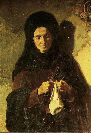 Γυναίκα που πλέκει, Λάδι σε Μουσαμά Επικολλημέ...