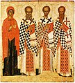 Paraskeva with saints (Pskov, 16th c, GTG).jpg