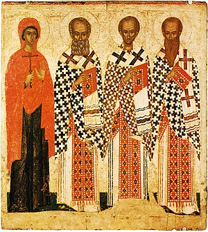 Parascheva of the Balkans - St. Parascheva, Gregory of Nazianzus, John Chrysostom and Basil of Caesarea.