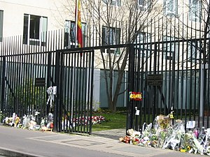 Reactions to the 2004 Madrid train bombings - The Spanish Embassy in Paris on 17 March.