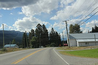 Parson, British Columbia - Looking northwest at some buildings in Parson on British Columbia Highway 95.