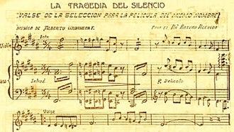 La tragedia del silencio - A section of the score by Alberto Urdaneta Forero from Cine Colombiano