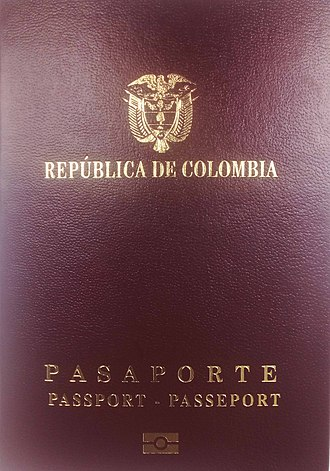 Colombian passport - The front cover of a contemporary Colombian biometric passport.