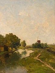 Polderlandschap (Watermolen aan een vaart bij Leiden)