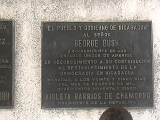 Violeta Chamorro - A plaque in Chamorro's Peace Park thanking US President George H. W. Bush for his contribution to the re-establishment of democracy in Nicaragua.