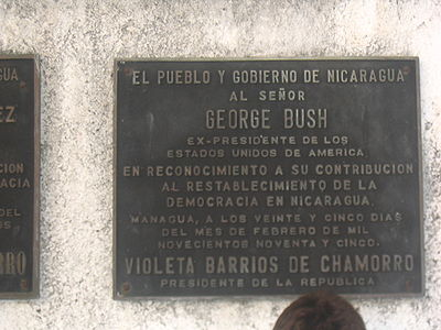A plaque in Chamorro's Peace Park thanking US President George H. W. Bush for his contribution to the re-establishment of democracy in Nicaragua. Peace park bush krk.jpg