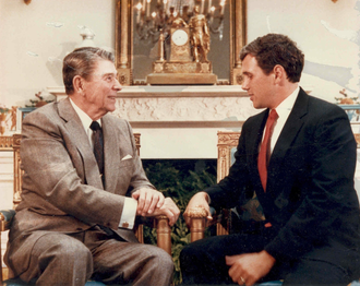 Pence with President Ronald Reagan at the White House in 1988 Pence with Reagan at White House, 1988.png