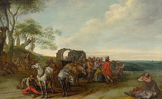 Peter Snayers - Flemish landscape with travellers attacked by robbers