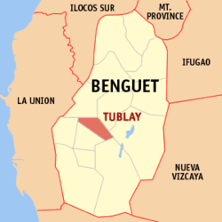 Map of Benguet showing the location of Tublay