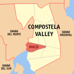 Map of Compostela Valley with Maco highlighted