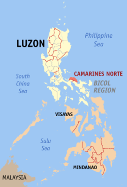 Map of the Philippines with Camarines Norte highlighted