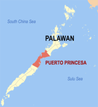 Map of Palawan showing the location of Puerto Princesa City.