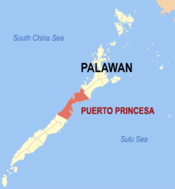 Map of Palawan showing the location of Puerto Princesa