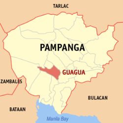 Map of Pampanga showing the location of Guagua.