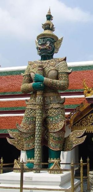 Ravana - Thotsakan(Ravana)'s sculpture as a guardian of Wat Phra Kaew, Thailand