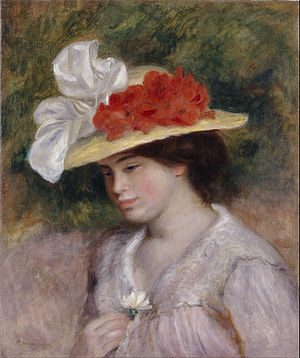Hat - Woman in a Flowered Hat, Renoir: Straw hat with brim decorated with cloth flowers and ribbons