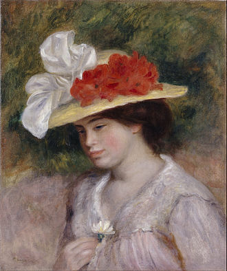 Hat - Woman in a Flowered Hat (1889), by Pierre-Auguste Renoir: Straw hat with brim decorated with cloth flowers and ribbons