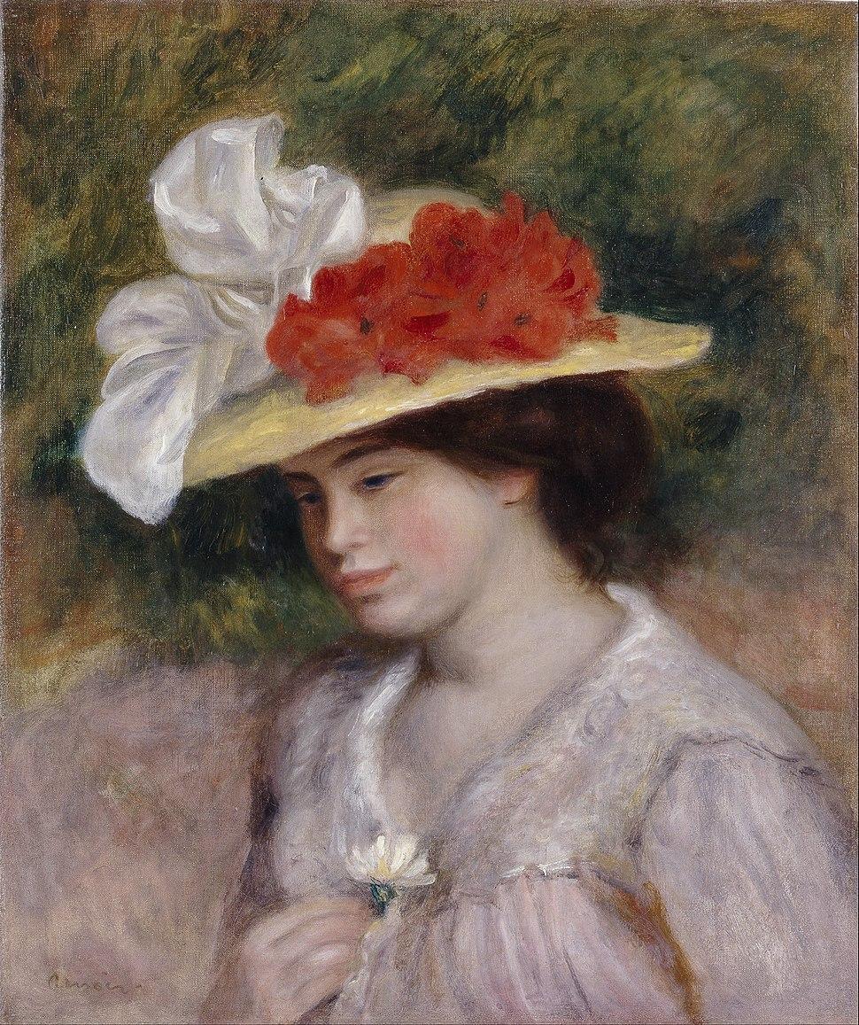 Pierre Auguste Renoir - Woman in a Flowered Hat - Google Art Project