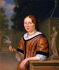 Portrait of a Lady, holding a rose in her right hand