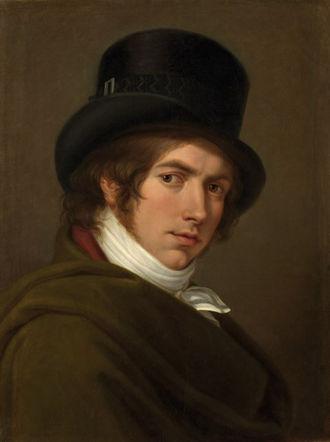 Pietro Benvenuti - Self-portrait in a top hat (1802)