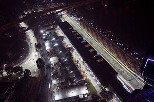 Marina Bay Street Circuit - The Singapore Formula 1 Pit Building before the 2014 Singapore Grand Prix.