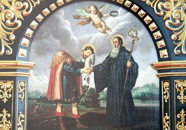 Georg Wilhelm Gräsner: Placidus og Sigisbert (1652), etter et kobberstikk av Conrad Meyer (1618-89) (1640)