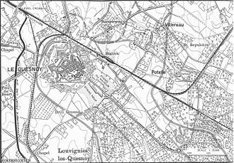 Capture of Le Quesnoy (1918) - Plan of attack on Le Quesnoy, 4 November 1918. Published in The New Zealand Division 1916–1918 by Col. H. Stewart, 1921