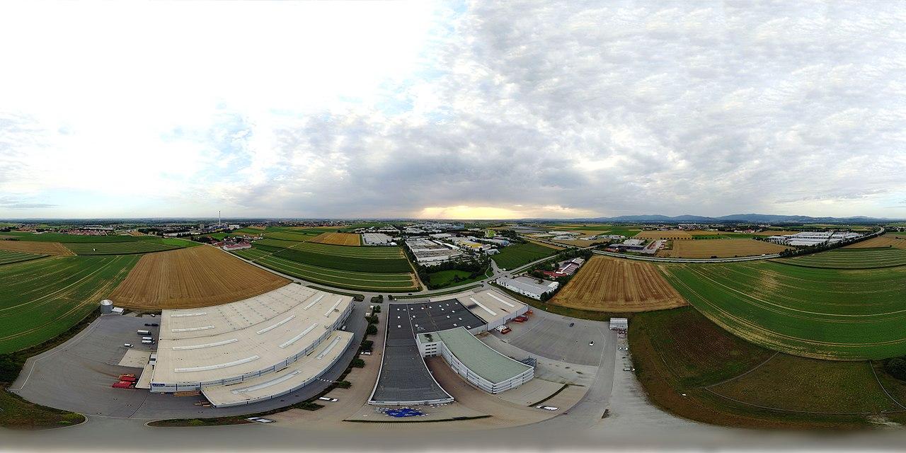 Equirectangular Panorama of Plattling in Bavaria (Germany)