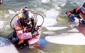 Dry suit - Membrane drysuit in icy water