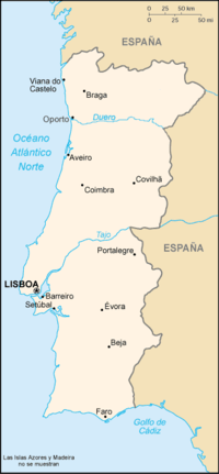 Portugal Continental Wikipedia La Enciclopedia Libre - Portugal map wikipedia