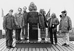 Polar Visitors in Antarctica with bust of Richard Evelyn Byrd. 1977.jpg