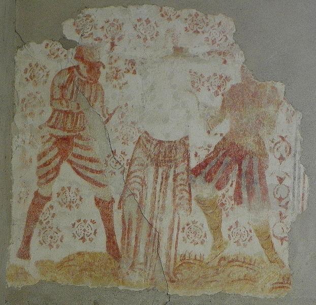 Fresques de l'église Saint-Martin de Pommerieux (53). Martyre de Sainte-Agathe.